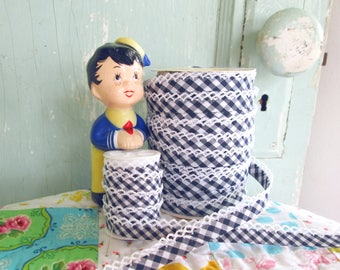 Navy Gingham Crochet Edge Bias Tape (No. 83).  Navy Gingham.  Blue Gingham.  Navy Blue Fabric.  Navy Blue Trim.