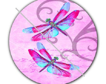 pretty cabochon 25mm, 2 dragonflies, pink