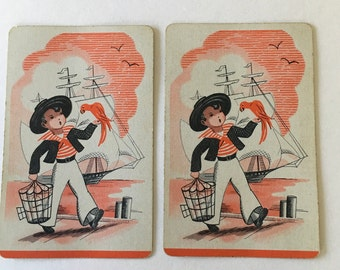 Little Boy Swap Cards / 2 Vintage Sailor Boy Playing Cards by Lord Baltimore Great for Mixed Media, Collage, Scrapbooking, Journals, etc.