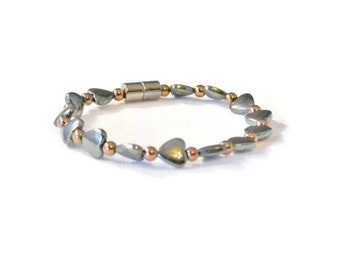 Magnetic Hematite Therapy Bracelet, Black and Copper, Holistic Jewelry, Pain Relief