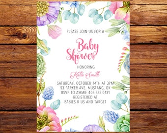 Flower Baby Shower Invitation, Floral Baby Shower Invitation, Girl Baby Invite