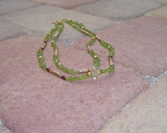 Peridot, Pearl and Citrine Necklace with 22k Vermeil