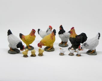 Miniature Chickens, micro mini chicks, rooster, hens, fairy garden farm miniatures, accessories for mini garden, bird accessory, terrarium