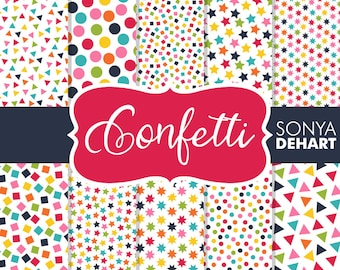 80% OFF SALE Birthday Confetti Digital Papers Party Background DP125