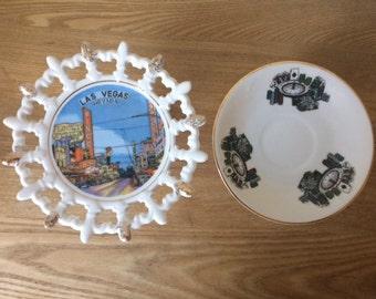 Vintage Las Vegas Souvenir Plates, 1950s Las Vegas Plate and Casino Saucer