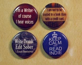 Writers 4 Pinback Buttons Set