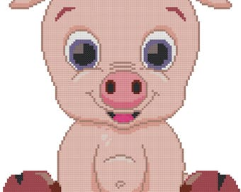 Bright Eyed Piggy Counted Cross Stitch Pattern PDF Download