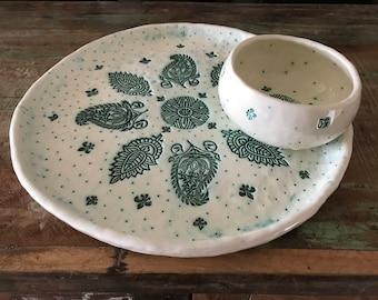 White ceramic plate and bowl set,  handmade pottery, home decor gift, decorative ceramic.