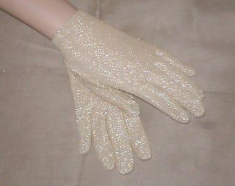 Vintage Gold Lurex wrist length Gloves