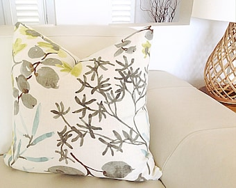 Linen Cushions, Linen Pillows. Foliage Citrene, Grey, Aqua, Ivory Cushion Cover, Scatter Cushion.