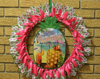 Summer Pineapple Holiday Ribbon Wreath