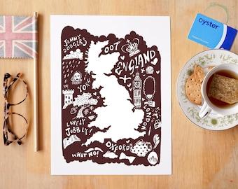 England Illustrated Map - Fine Art Giclée Archival Print