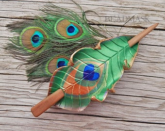 Leather Hair Slide - Peacock Feather Shawl Pin, Hair Stick Barrette in Iridescent Emerald Green