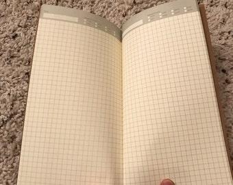 Traveler's Notebook Insert [Grid] - Paper Refill/Fauxdori/Midori/Full Size/Single Book/Leather Notebook Refill
