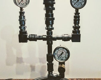 Vintage Hydraulic Table Lamp / Steel Pipe / Hydraulic Accessories