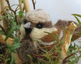 Birds of our gardens made hand stitched felted wool.