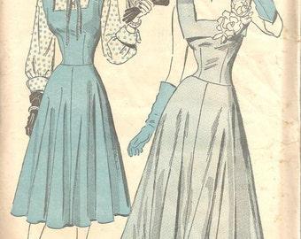 1940s Evening Dress Drop Waist Fit & Flare Pattern Square Neck Blouse Jumper Advance 4725 Unused FF  Women's Vintage Sewing Pattern