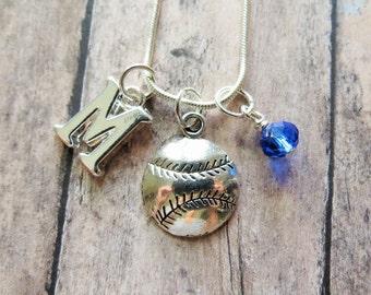 Baseball Necklace, Softball Necklace, Silver Baseball, Pendant, Initial Charm, Birthstone, Personalized, Softball Team Gift, Softball Coach