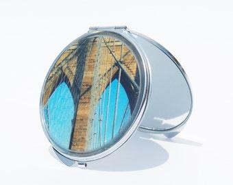 COMPACT MIRROR - Mirror - Brooklyn Bridge - Custom- Bridesmaid Gifts