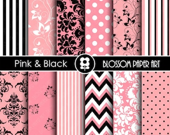 Pink and Black Paper, Pink Digital Paper Pack, Damask Scrapbooking, Digital Paper Pack  - INSTANT DOWNLOAD  - 1805