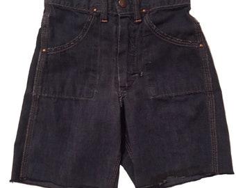 Vintage 1950s Youth Denim Cut Off Shorts 22 Inch Waist