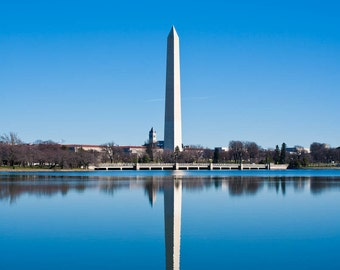 Washington DC Art, Washington Monument Reflection, 16x20 Fine Art Photograph, Washington DC skyline, Washington DC Photography