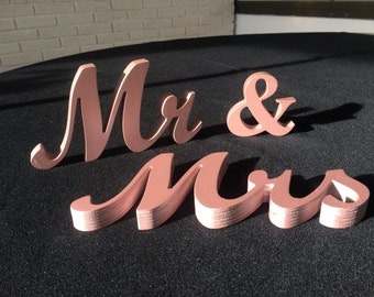 Wooden  set  Mr and Mrs signs Rose Gold