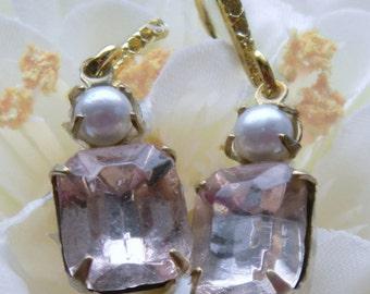 Rosaline Rhinestone Earrings, White Pearls, Rosaline Earrings, Rhinestone Earrings, Pale Pink Rhinestones