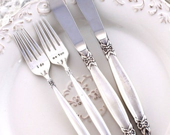 MR. & MRS. WEDDING Forks and Knives - Cake Table Setting Decor Mr. and Mrs. Forks Hand Stamped - Garland 1965 - Ready To Ship