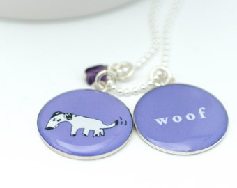 Dog Necklace | Woof Pendant | Custom Color | Dog Lover Necklace | Cute Accessory | Gift for Teen | Gift for Kids |  Puppy Pendants