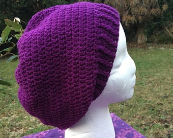 Purple hippie Slouch Beanie Tam Hat