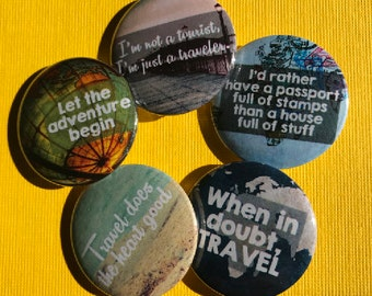 Passport to the World Button Set, Backpack Pins, Vintage Map, Travel Badges, Boho Buttons, Traveler Pins, Travel Badge, Peace, Explore Pins