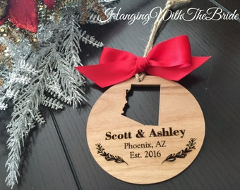 Personalized Couple Ornament, Christmas Gift, Custom name ornament, couple gifts, couple ornament, state ornament, couple wood ornament