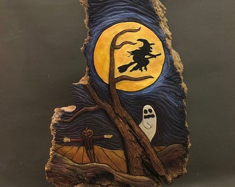 HAND CARVED original massive Halloween relief carving from 100 year old Cottonwood Bark.