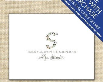 Soon to be Mrs. Wedding Thank You Cards, Flower Initial Wedding Thank You Cards, Baby Shower Thank You, Bridal Shower Cards, Eco Friendly