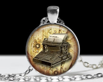 Writer Jewelry Typewriter Necklace Pendant Wearable Pendant Charm Typewriter Jewelry