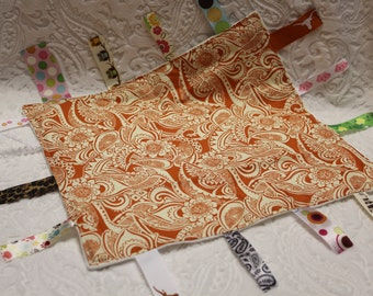 Burnt Orange Floral Blankie with Ribbons
