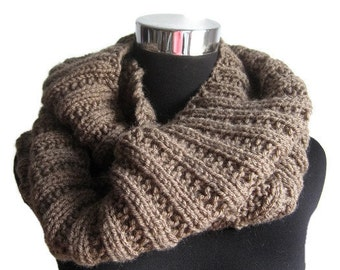 Cowl Scarf, Taupe Knit Infinity Scarf, Womens Accessories, Knitwear, Taupe Knit Circle Scarf, Knit Fall Fashion, Winter Accessories