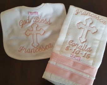New Design! Baby Baptism or Christening Gift Embroidery Bib Burpcloth Customized with Name or Saying or other Occasion Boy or Girl
