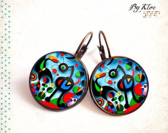 Cabochon Stud Earrings • painting • Miro color glass art garden