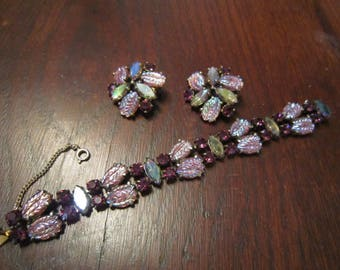Schiaparelli Bracelet Pink and Purple Art Glass