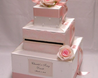Ivory/Blush Pink Card Box-Lace , Rose , Pearl accents
