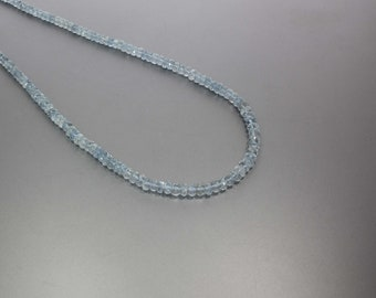 Aquamarine Faceted Rondelle 4 to 5.5 mm AA Necklace for Women
