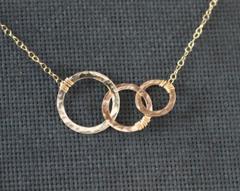 Circles Necklace, Three Circles, Mothers Necklace, Expectant Mother, Mothers Day Necklace, Sterling Silver, Gold Hammered Circles, N117