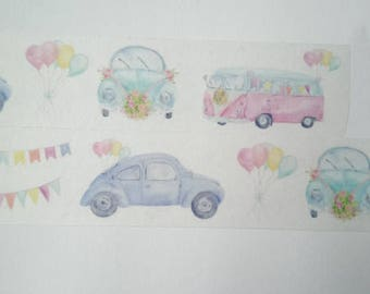 Design Washi tape cars floral pastel