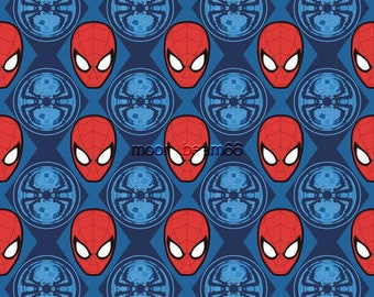 Marvel Super Friend Superhero Spider-Man Ultimate Hero Faces Blue Cotton Fabric  By The Yard Half Yard