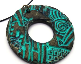 Old gold and patina turquoise polymer clay donut necklace Boho, Celtic, mid-century, Gothic still
