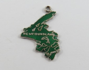 Enameled Green Map of Province of Newfoundland Canada Sterling Silver Charm or Pendant.