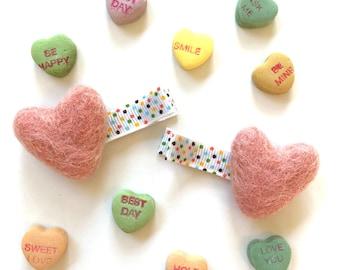 HEART clip set. No slip hair clips. Heart hair clip. Valentine's hair accessories. PINK hair clips for girls. Baby hair clip. Pigtail set.
