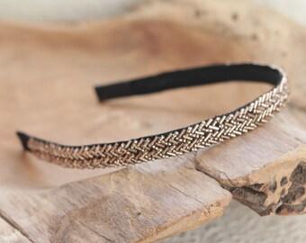 Bronze Beaded Headband, Sparkly Headband for Women